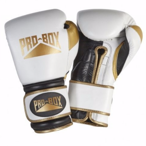 Pro-Box Special Edition 'Pro Spar' Boxing Gloves - White/Gold